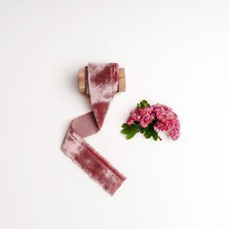 шелковая бархатная лента Пыльно - сиреневого цвета