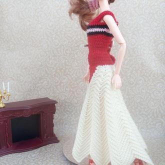 Вязаная одежда для кукол Барби. Платье бальное