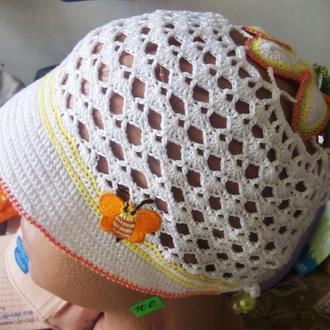 Панамка ажурной вязки летняя для девочки