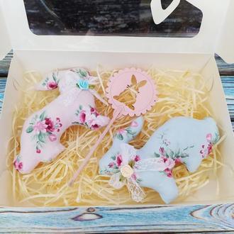 Пасхальный подарочный набор декора в коробке.