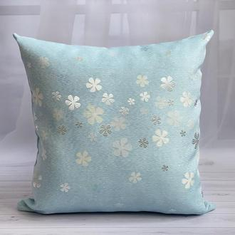 Декоративная наволочка, Декоративная подушка, Интерьерная подушка, Подушка на диван, Голубая подушка