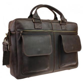 Большая мужская кожаная коричневая сумка для ноутбука и документов