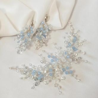 Набор украшений: хрустальная веточка в прическу из бусин нежного голубого цвета, ободок из бусин