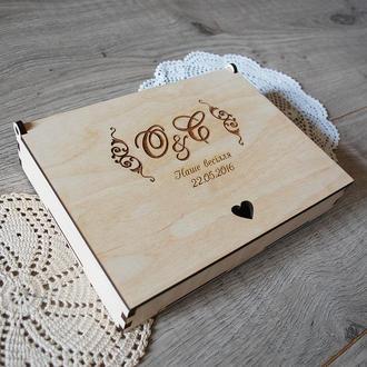 Коробка для фото 21х15 см, и меньше, с инициалами молодоженов