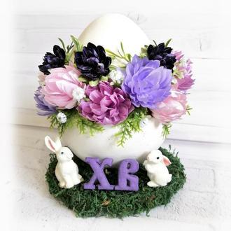 Декор на пасху Большое пасхальное яйцо с цветами и кроликами h -17см