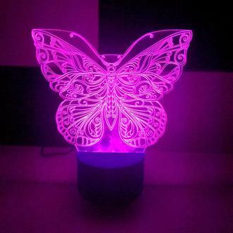 Ночник 3d лампа, светильник Бабочка, подарок, сувенир, декор, интерьер, оригинальный сувенир