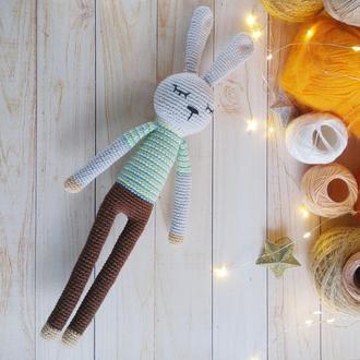 Мягкая игрушка зайчик  на подарок для мальчика