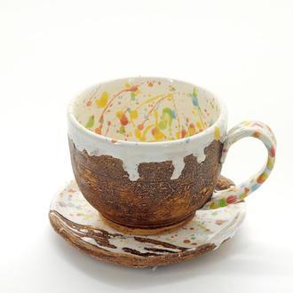 Большая керамическая чашка с круглым блюдцем Ручная работа 400мл