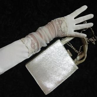 перчатки высокие .Перчатки белые,с кружевом,свадебные,на вечеринку