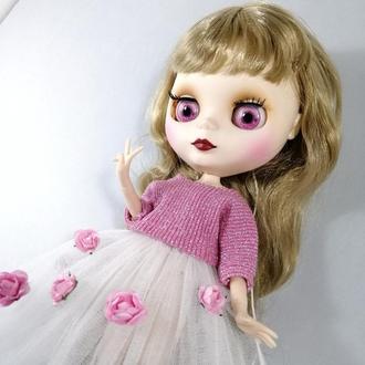 Рожевий одяг для Блайз Весняний комплект для Blythe Набір спідниця і кофта для ляльок