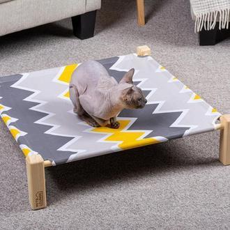 Лежак для котов и собак Pets Lounge Hammock Square, серый с жёлтым