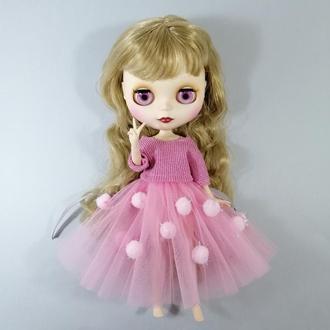 Рожевий одяг для Блайз Ошатний комплект для Blythe Набір спідниця і кофта для ляльок