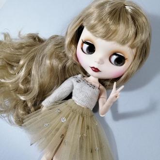 Стильний одяг для Блайз Ошатний бежевий комплект для Blythe Набір спідниця і кофта для ляльок