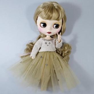 Ошатний бежевий одяг для Блайз Стильний комплект для Blythe Набір спідниця і кофта для ляльок