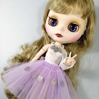 Стильний бузковий одяг для Блайз з перламутром Комплект для Blythe Набір спідниця і кофта для ляльок