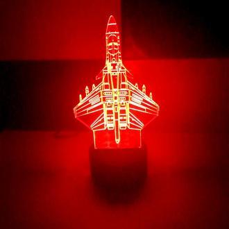 Ночник, светильник, 3d лампа Самолет, игрушка, подарок мальчику, мужчине, сувенир, декор, интерьер