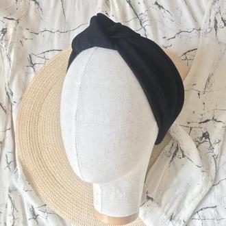 Чёрная вельветовая повязка на голову/для волос/тюрбан с узелком