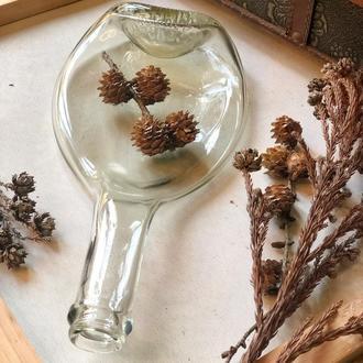 Прозора скляна тарілочка у формі пляшки, підставка для дрібничок, підсвічник