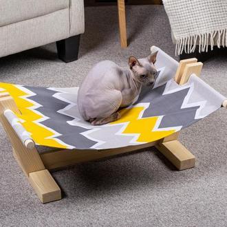 Лежак для котів Pets Lounge Hammock Sail, сірий з жовтим