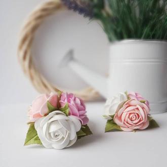 Украшение для волос, бутоньерка, браслет для подружек невесты. - Букет розочек