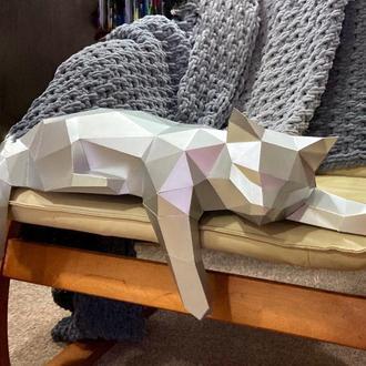 Полигональная фигура кота металлизированая
