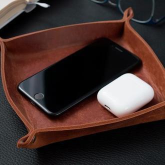 Кожаный лоток органайзер (Коньяк) Leather Tray