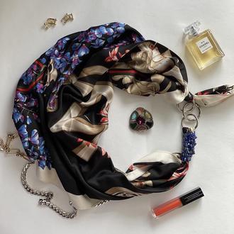 """Платок """"Голубые незабудки """"  от украинского бренда My Scarf , атласный платок, шарф-колье."""