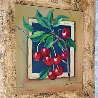 Вишня в интерьере, картина в раме, размер картины 20х20см