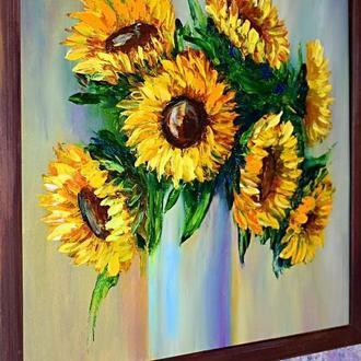 Соняшники у вазі, натюрморт розмір 40х40см