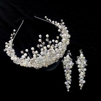 Диадема для невесты, диадема и серьги, диадема свадебная, корона для невесты, белая диадема