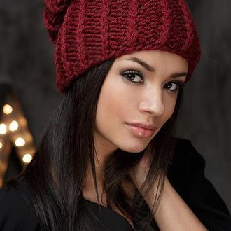 модная мягкая вязаная шапка комплект Бини Розовая Голубая