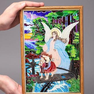 Витражная картина «Ангел и дети»