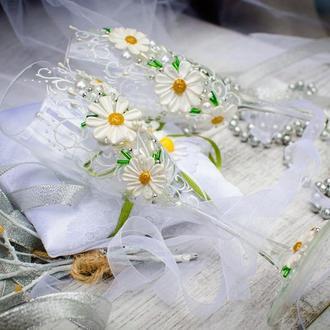 Свадебные бокалы ′Ромашки в стиле rustic′
