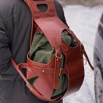 Рюкзак из натуральной кожи со вставкой из парусины (ручная работы)