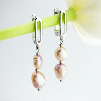 Длинные серьги с речным жемчугом Подарок девушке маме жене дочке  жемчуг (модель № 669) JK jewelry