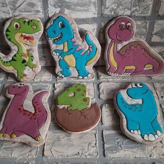 Набор 5 пряников - динозавров и цифра