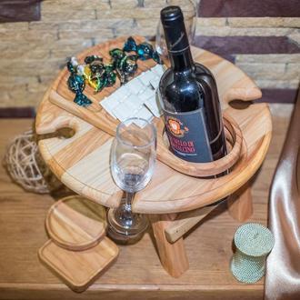 Дерев'яна яний винний столик+Менажниця