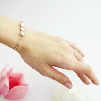 Тонкий браслет-цепочка в стиле минимализм с жемчугом Подарок девушке (модель № 674) JK jewelry