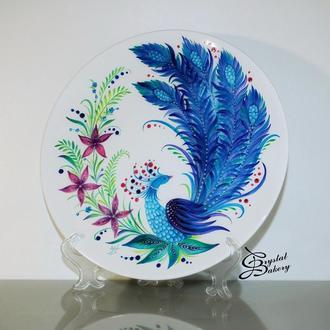 Тарелка керамическая с авторским рисунком Птица счастья. Петриковская роспись керамики.