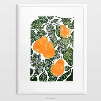 Інтер'єрна картина(гравюра) «Груші» в стилі ботаніка