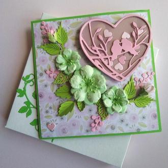 Валентинка-магнит-шейкер ,открытка в коробочке