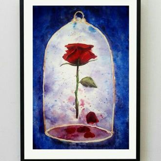 "картина акварель ""Роза в колбе"" (Красавица и Чудовище))"