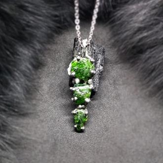 Кулон Green, хромдиопсид, олово, медь, серебро, сталь