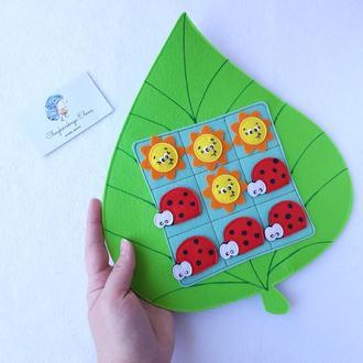 Развивающая игра крестики-нолики из фетра для детей, на магнитах,дидактические игры. Настольные игры