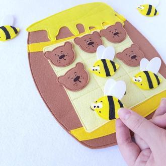 Развивающая игра крестики-нолики из фетра для детей, на магнитах. Настольные игры, игрушка в дорогу