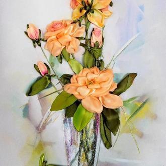 """""""Троянди. Картина в пастельних тонах"""" - картина вишита стрічками."""