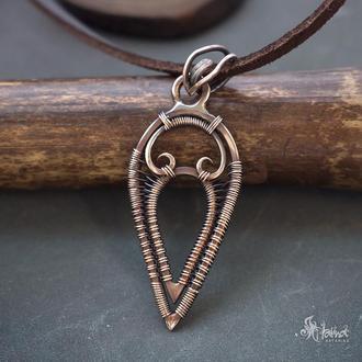 Маленький кулон // Кулон из проволоки // Кулон из бронзы // Кулон wire wrap // Кулон в подарок