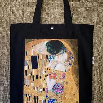 Арт шоппер Поцелуй Климт, черная эко сумка с принтом, искусство, сумка для покупок с карманом, торба