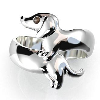 Серебряное кольцо Такса