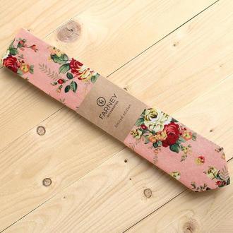 Галстук розовый цветочный принт